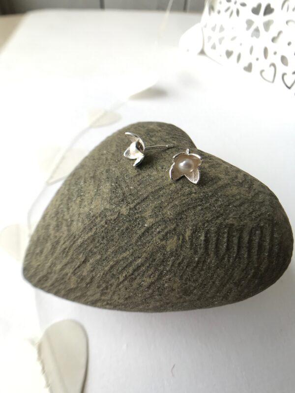 flower pearl earring stud sterling silver handmade