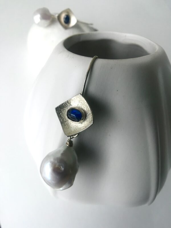 Sterling Silver Earrings with Blue Sapphires and White Baroque Pearls