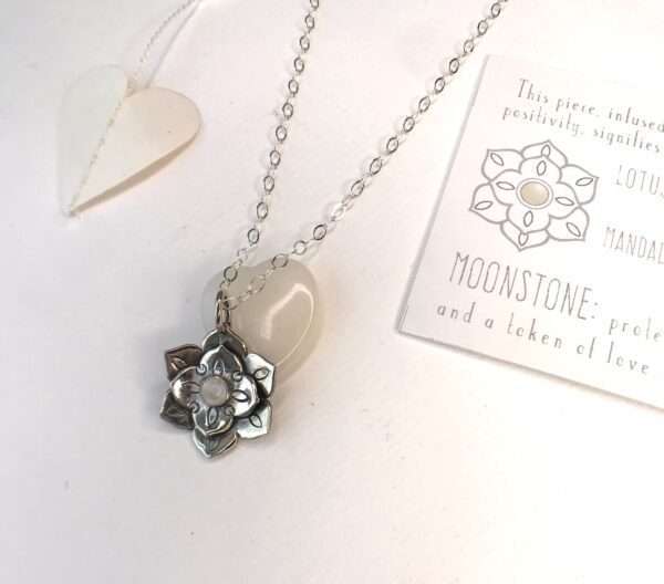 Lotus mandala sterling silver pendant moonstone