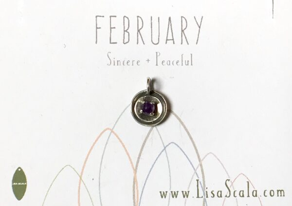 Sterling Silver Celestial February Handmade Birthstone Pendant Necklace with Amethyst
