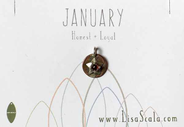 Sterling Silver and Copper Celestial January Handmade Birthstone Pendant Necklace with Almandine Garnet