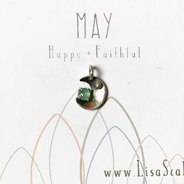 Sterling Silver Celestial May Handmade Birthstone Pendant Necklace with Chrysoprase