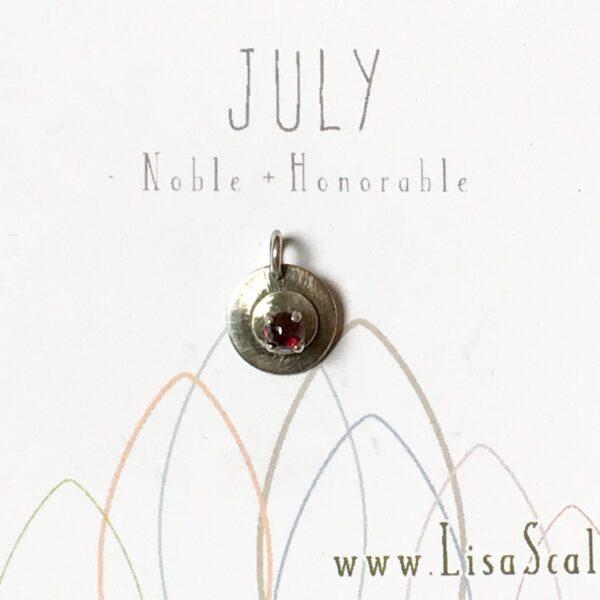 Sterling Silver Celestial July Handmade Birthstone Pendant Necklace with Rhodalite Garnet