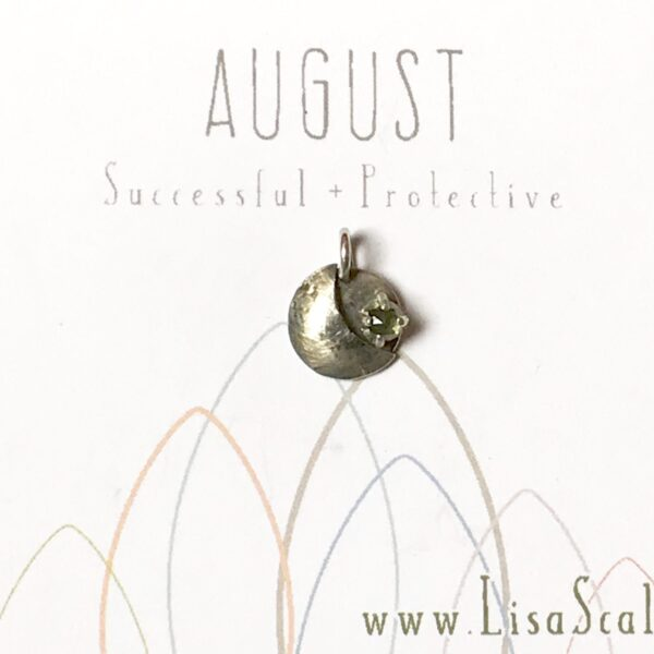 Sterling Silver and Brass Celestial August Handmade Birthstone Pendant Necklace with Peridot