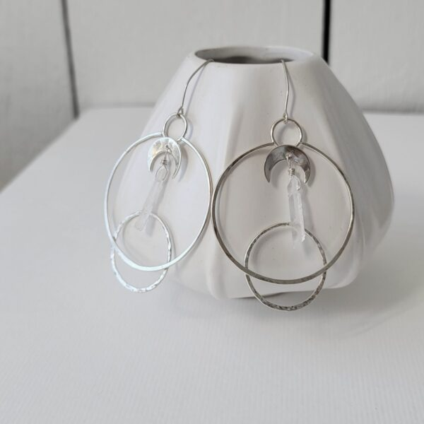 Healing Crystal Moon Phase Hoop Earrings - Sterling Silver