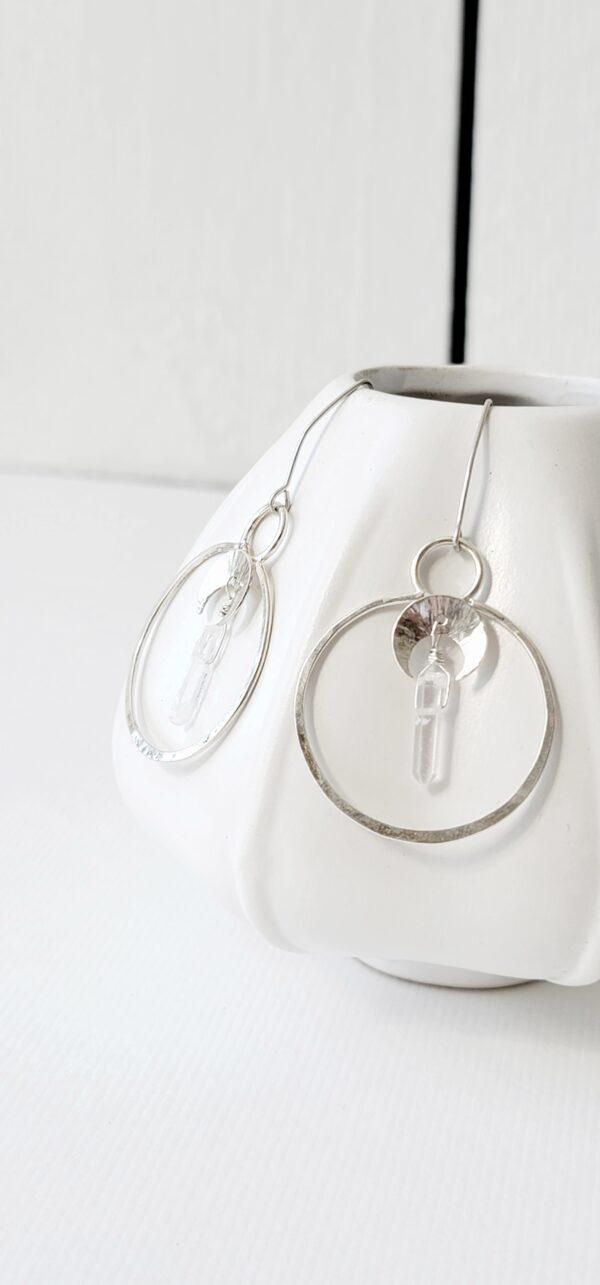 Healing Crystal Quartz Moon Phase Hoop Earrings, Sterling Silver