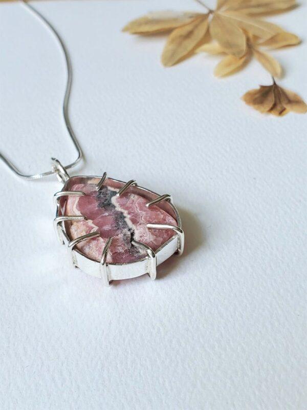 Rhodochrosite Sterling Silver Pendant