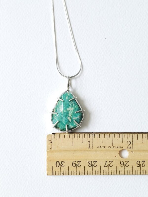 Amazonite Multi prong set pendant in sterling silver.