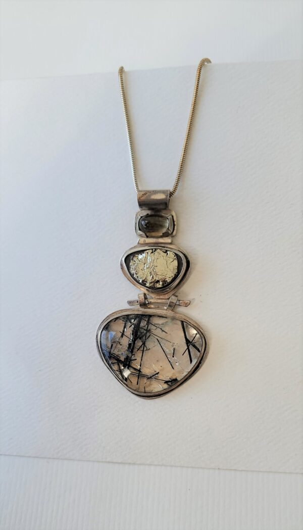 healing gemstone necklace with tourmalated quartz sterling silver moonstone and hematite