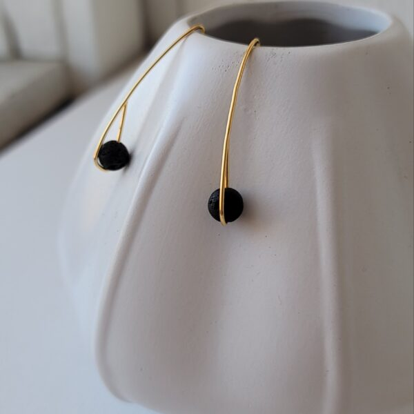 18kt gold over sterling lava stone earrings essential oils