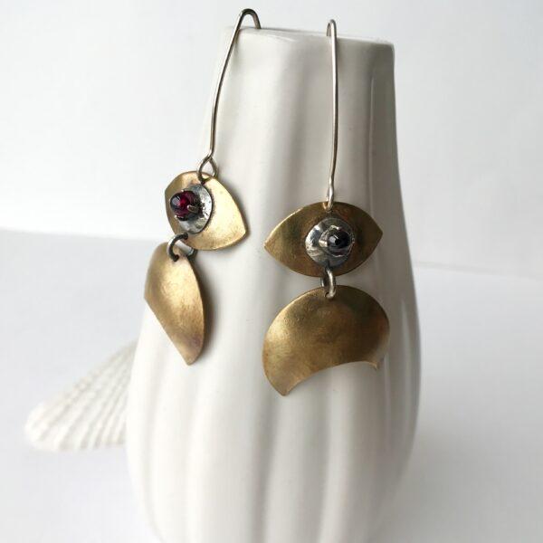 Crescent Moon Evil Eye Brass and Garnet Earrings