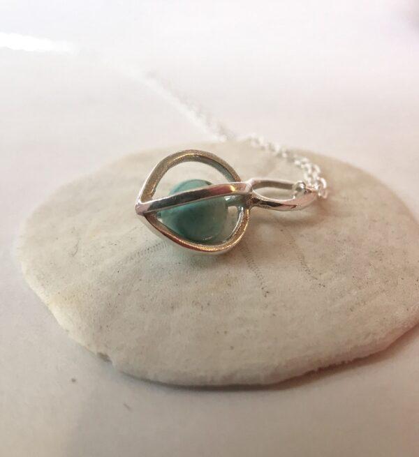 Healing Gemstone Pod Pendant Turquoise