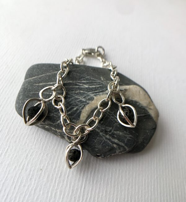 Sterling Chain Link Bracelet with 3 essential Oil Pendants