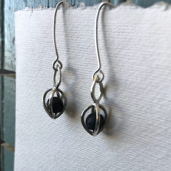 Gem Pod Earrings Lava Stone Essential Oil