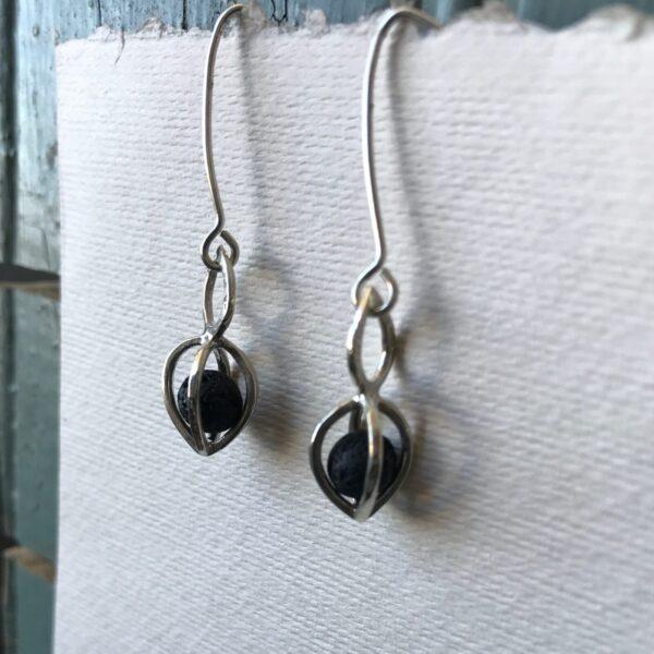 Gem Pod Earrings Lava Stone Essential Oil