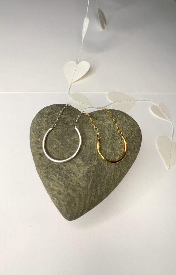 Open Circle 18kt sterling silver hoop pendant