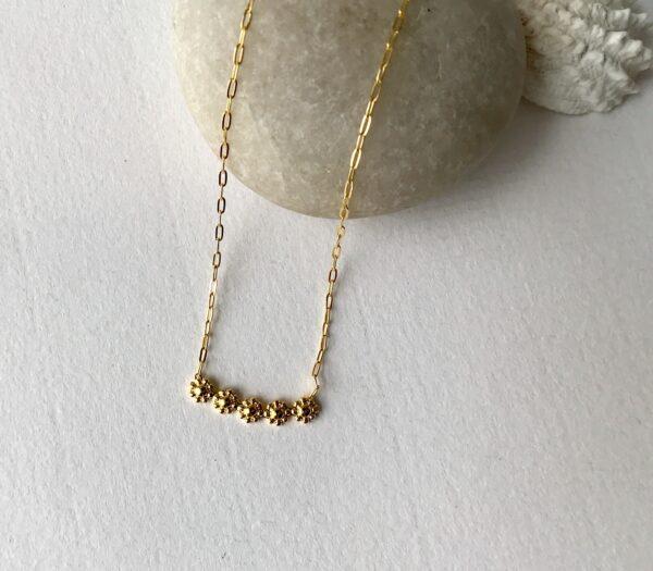Five Flower Bar Necklace 18kt Gold over Sterling