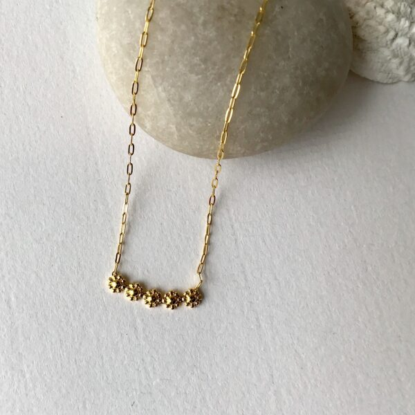 Five Flower Bar Necklace 18kt Gold over Sterling