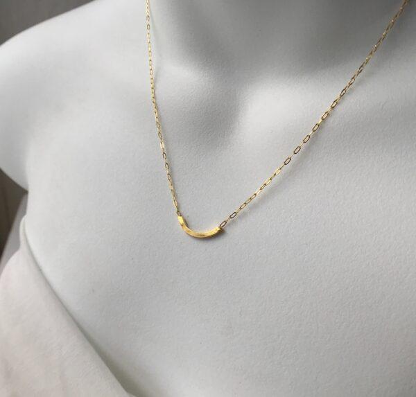 Curved Bar Necklace 18kt Gold over Sterling