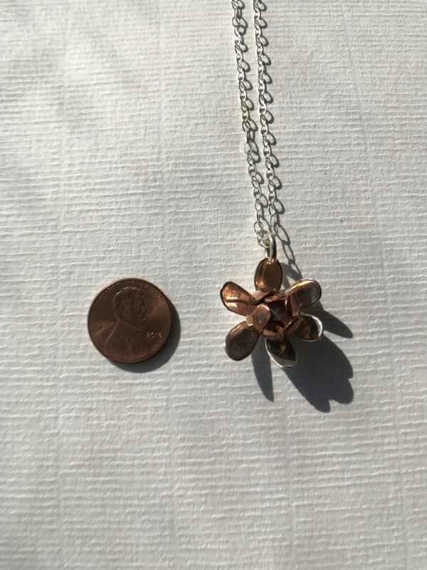 copper and Sterling flower pendant with pearl