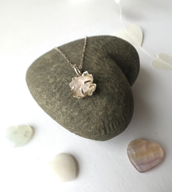 Raw Gemstone Necklace with Rose Quartz, sterling silver