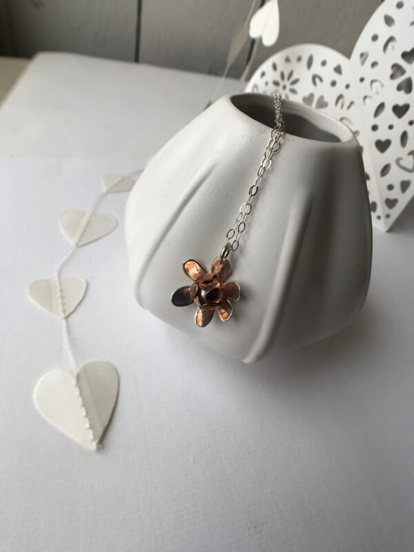 Flower pendant with copper sterling and pearl